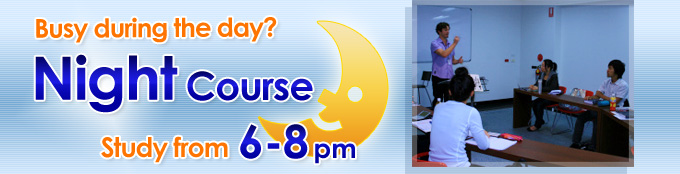 night course Busy during the day? Study from 6-8